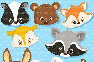 Forest animal Faces Clipart AMB-276