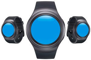 Samsung Gear S2 Black Mockup Pack