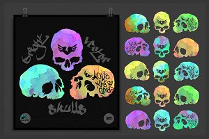 Bright vector watercolor skulls set