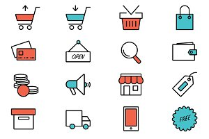 Flat icons for e-commerce