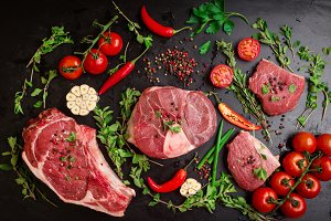 Raw assorted meat steaks