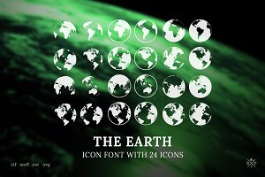 The Earth - Icon font with 24 icons