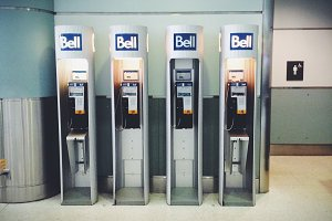 Row of Old Pay Phones