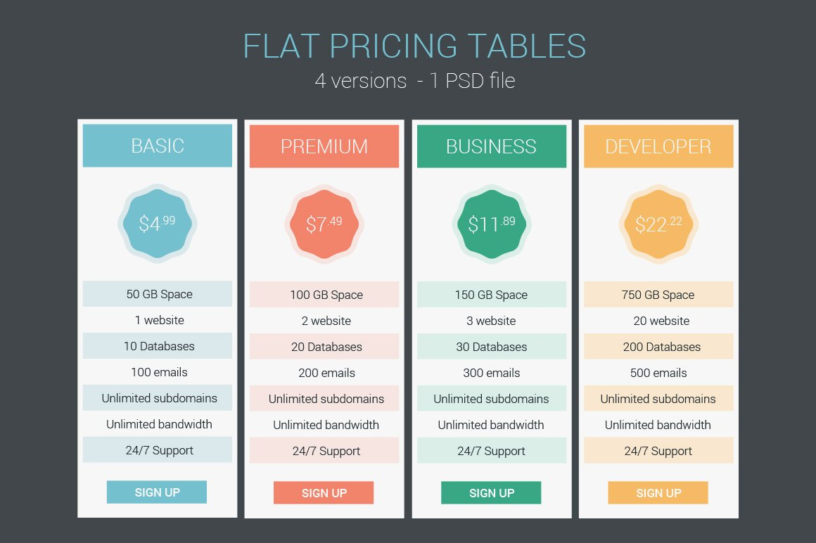 Flat pricing tables web elements creative market for Table flat design