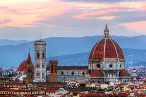 Florence skyline at sunset, Italy.