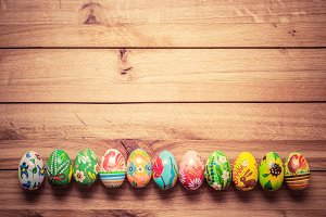 Colorful hand-painted Easter eggs.