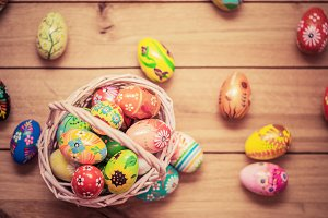 Hand painted Easter eggs in basket.