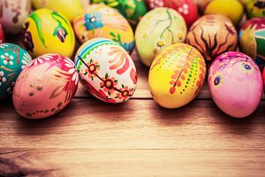 Colorful hand painted Easter eggs.