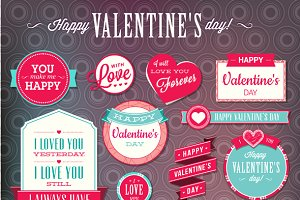 Set of Love Badges and Labels