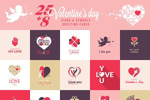 Set of Love Icons and Greeting Cards