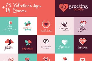 Set of Valentines Signs and Banners