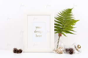 White frame with flower mockup