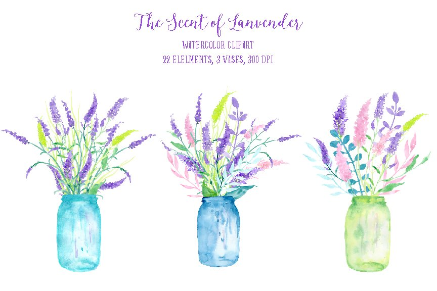 Watercolor The Scent Of Lavender Illustrations Creative Market