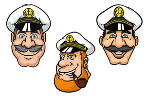 Ship captains in white peaked caps