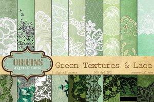 Green Lace Digital Paper