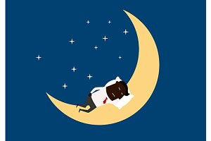 Tired businessman slleping on moon