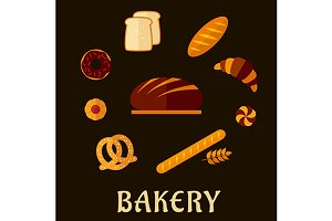 Fresh bakery in flat style