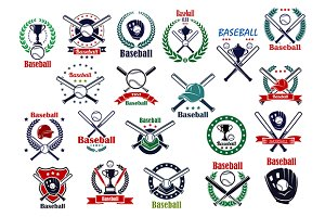 Baseball sport game icons and symbol