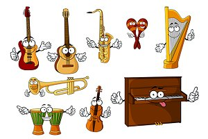 Cartoon classic musical instruments