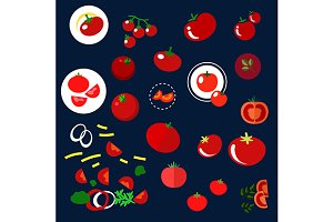 Red tomatoes vegetables flat icons
