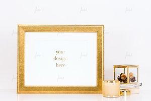 Vintage gold frame styled mockup