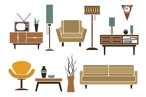 Retro furniture and interior icons