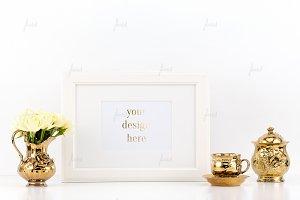 Styled frame gold vintage mockup