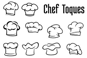 Baker and chef toques, caps and hats