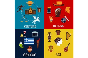 Culture art and history Greece icons