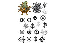 Heraldic nautical isolated helms set
