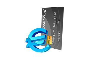 Euro currency sign and credit card