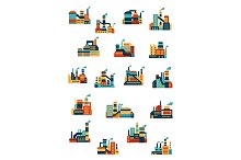 Industrial factory and plant icons