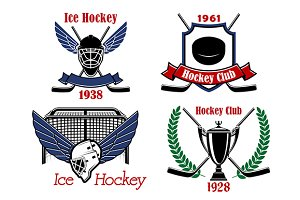 Ice hockey game badges and icons
