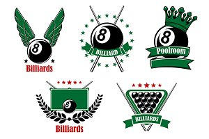 Billiards and pool emblems with cues