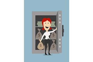Happy businesswoman open safe door