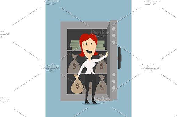 Happy businesswoman open safe door
