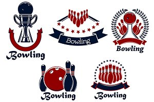 Bowing game icons and symbols