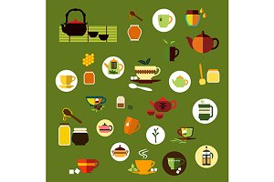 Tea and drinks flat icons