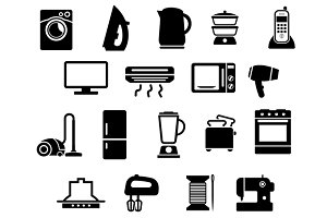 Home appliances black icons set