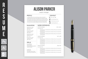 "Resume Template ""Alison Parker"""