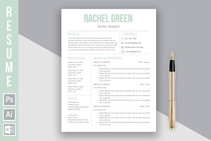 "Resume Template ""Rachel Green"""