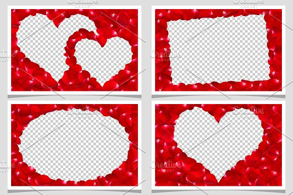 Rose Petals Couple Heart Frame ~ Graphic Objects ~ Creative Market