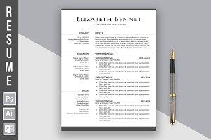 """Resume Template """"Elizabeth Bennet"""""""