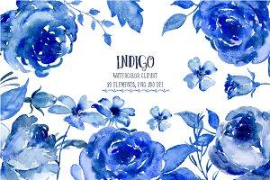 Watercolor Clipart Indigo