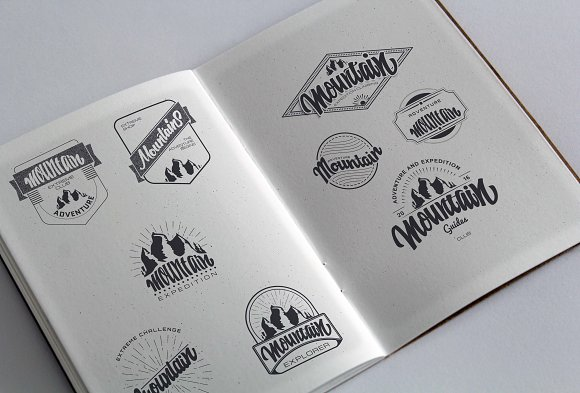 Mountain lettering badge