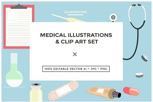 Medical Illustrations & Clip Art Set