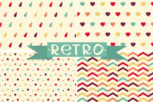 Spring retro set of pattern.