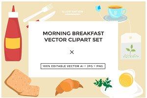 Morning Breakfast Vector Clipart Set