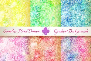 6 Seamless Gradient Florals. Set#3
