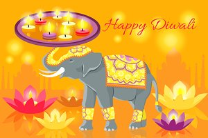 Happy Diwali Elephant Indian
